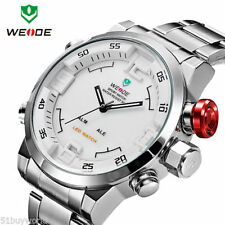 WEIDE  Digital LED Date Silver Big Face Sport Stainless Steel mens Quartz Watch