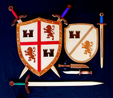 Woodworking plans for making play wood swords and shields