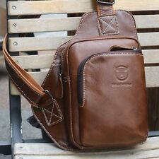 Men's Cowhide Leather Shoulder Chest Bag Sling Bag Riding Backpack Crossbody Bag