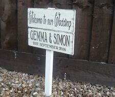 Personalised Wedding Welcome  Sign on a post Vintage Bride & Grooms names
