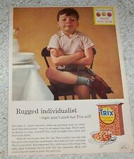 1957 vintage ad -Trix cereal- cute little boy - General Mills print advertising