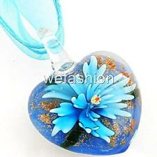 Aqua Flower Heart Lampwork Glass Murano Bead Pendant Ribbon Necklace Cord