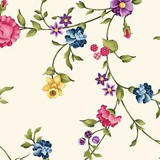 Fabric Floral Vines on Cream Cotton by 1/4 yard