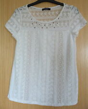 Moda Ladies Top Blouse Size 12 Cream Smart Casual Summer Lace Work  (zm)