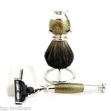 Antique Style Black Badger Men's Shaving Brush+Free Holder,MACH 3 RAZOR HANDLE