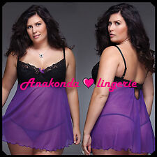 Rosa BBW Sexy SLEEPWEAR Lingerie Sex Toy Luxury Lace PURPLE Dress HOT Babydoll