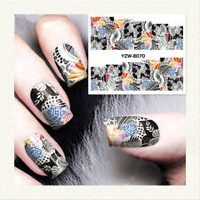 1 Sheet Nail Art Water Transfer Decal Manicure Sticker Dark Flower Leaves Design