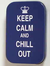 new slim 1oz hinged tobacco tin keep calm and chill out