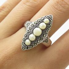 Vtg 925 Sterling Silver Natural Marcasite Gemstone & Pearl Ring Size 7.5
