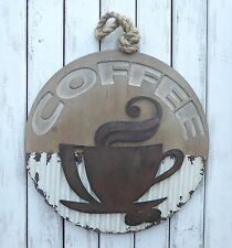 Industrial COFFEE CUP MUG SIGN Kitchen Espresso WOOD & Corrugated METAL WALL ART