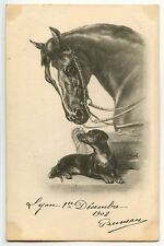 CHEVAL HORSE   DACHSHUND  TECKEL . DOG CHIEN . DACKEL