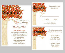 100 Personalized Custom Fall Autumn Love Heart Tree Wedding Invitations Set
