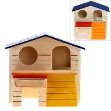 Wooden Bed House Cage Dual Layer Villa for Rat Hamster Mouse
