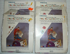 Lot of 4 DRITZ IRON-ON EMBROIDERY KITS, Flower Power & Indian Art, NOS