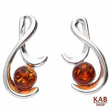 COGNAC BALTIC AMBER STERLING SILVER 925 JEWELLERY BEAUTY EARRINGS. KAB-111