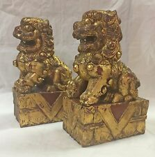 Set of 2 Vintage Chinese Foo Dog Wood Carved Guardian Fu Lion Red w/ Gold Leaf