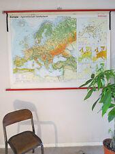 Splendido Vintage Pull Down scuola geografica mappa dell' Europa dell' agricoltura
