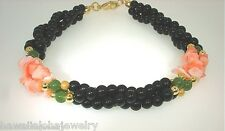 10mm Round Black Agate Polished Rough Pink Coral Green Aventurine Bracelet 8""