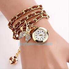 GIFT~ Fashion Around Leather Bracelet Watch Women Quartz Wrist Watch Weave Chain
