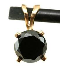 0.50ct Genuine Black Diamond Solitaire Solid 14K 14KT Yellow Gold Pendant