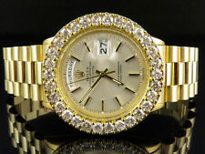 18K Mens Yellow Gold Rolex Presidential Day-Date 36MM Diamond Watch 7.5 CT