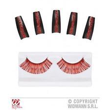 Rojo Pestañas & 10 Brillo Uñas Diablo Halloween Vestido De Lujo