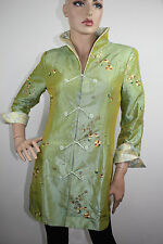 Ming Xing Chinese Women's Green Nylon Jacket/Coat with Embroidery Green Size S