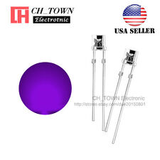 100PCS 5mm Flat Top Water Clear Purple/UV Light Wide Angle 120Deg LED Diodes USA