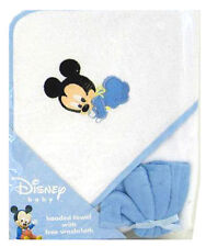 Disney 2pc Gift Set Mickey Mouse Infant Baby Boy Blue Hooded Towel + Washcloth