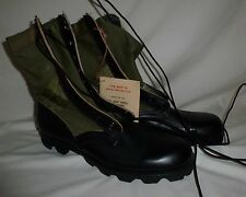 Vintage Vietnam Era Military Jungle Tropical Boots Green Canvas Leather 11XN New