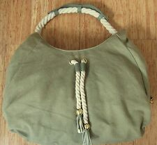 Big Buddha Green Shoulder Bag Handbag Purse Hobo Canvas w Leather trim EUC