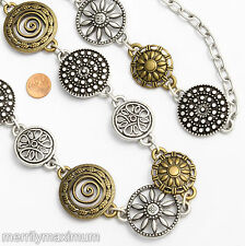 """Chico's Signed Belt Silver Gold Tone Chain Flower & Swirl Disks up to 50"""""""
