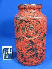"""Seltene 70er Jahre Scheurich """"Jura"""" Dekor Fat Lava Keramik Vase 282 - 20 rot"""