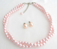 Pink Pearl Necklace Stud Earrings Bridesmaid Pink Pearl Twisted Necklace Set