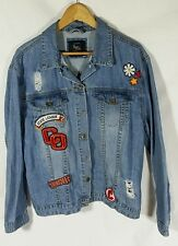 COTTON ON Distressed with Patches Blue College Style Denim Jean Jacket SIZE XL
