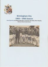 BIRMINGHAM CITY 1964-1965 RARE ORIGINAL HAND SIGNED TEAM LINE UP 6 X SIGNATURES