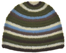 Kufi Hat Crochet Cap Beanie-brown White Green Khaki