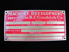 Old Brass BF GOODRICH Machine Development Nameplate Plaque Tag Small Sign BFG