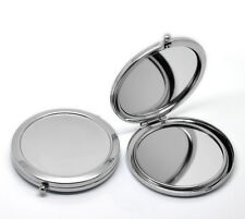 One New Portable Folding Makeup Mirror Round Silver Compact pocket purse m57