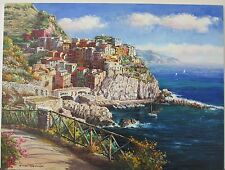 "Sam Park Original Oil Canvas H/S ""Manarola"" 30x40 cliffside waterfront stretched"