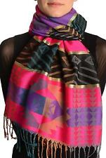 Aztec Patern On Pink and Purple With Gold Lurex Pashmina With Tassels (SF001727)