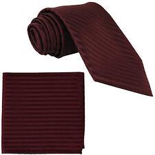 New Polyester Woven Men's Neck Tie necktie & hankie set Stripes burgundy wedding