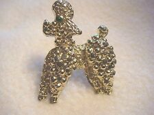 V7intage Small Gold-Tone Poodle Pin with One Green Rhinestone Eye ~ Cute