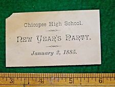 1885 Chicopee High School, MA New Year's Party Victorian Trade Card F12