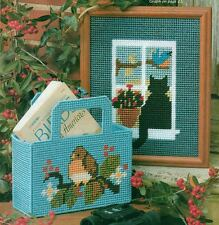 CAT IN THE WINDOW & LITTLE ROBIN TOTE PLASTIC CANVAS PATTERN INSTRUCTIONS