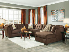 ANGELO-Large Modern Brown Microfiber Living Room Sofa Couch Chaise Sectional Set
