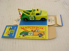 MATCHBOX LESNEY #13 BP DODGE WRECK TRUCK WITH RED HOOK & WITH ORIGINAL BOX