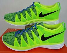 "New Womens 9 NIKE ""Flyknit Lunar 2"" Volt Blue Running Shoes $150 620658-701"