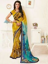 Stylist Multi Color Printed Chiffon Saree with a Blouse D.No MFK162