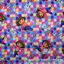 BonEful Fabric FQ Cotton Quilt Pink DORA Boots Monkey Sm Dot GIRL Retro Spanish